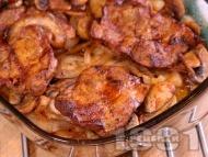 Рецепта Крехки печени свински вратни пържоли без кост на фурна с гъби и лук в йенско стъкло (тенджера, тава, йена глас)
